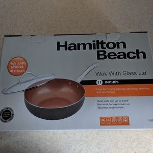 "Hamilton Beach 11"" wok with glass lid"